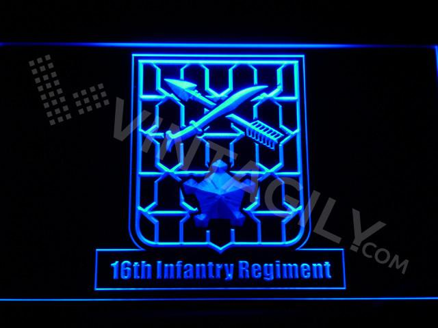 16th Infantry Regiment LED Neon Sign USB - Blue - TheLedHeroes