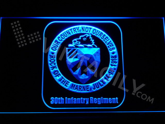 30th Infantry Regiment LED Sign - Blue - TheLedHeroes