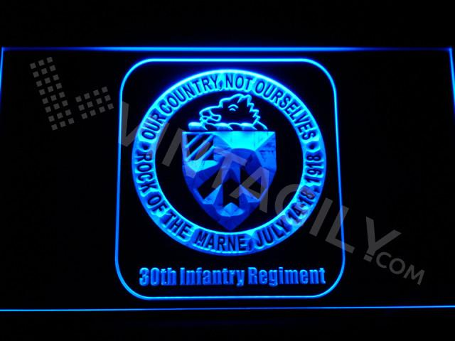 30th Infantry Regiment LED Neon Sign USB - Blue - TheLedHeroes