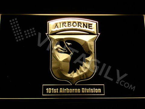 101st Airborne Division LED Neon Sign USB - Yellow - TheLedHeroes