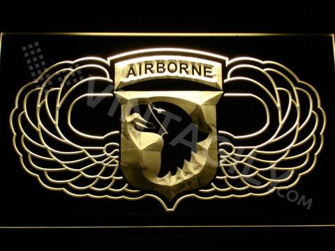 101st Airborne Division Wings LED Neon Sign USB - Yellow - TheLedHeroes