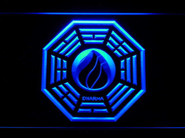 Dharma Stations Initiative Flame Lost LED Sign - Blue - TheLedHeroes