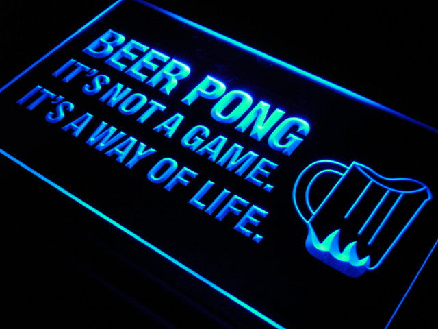 Beer Pong A Way of Life LED Sign - Blue - TheLedHeroes