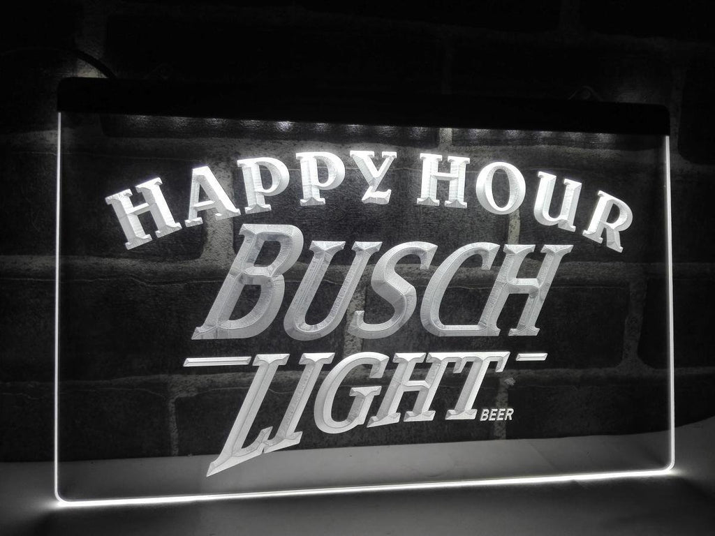 Busch Light Happy Hour LED Neon Sign Electrical - White - TheLedHeroes
