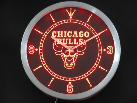 Chicago Bulls Sign LED Wall Clock - Red - TheLedHeroes