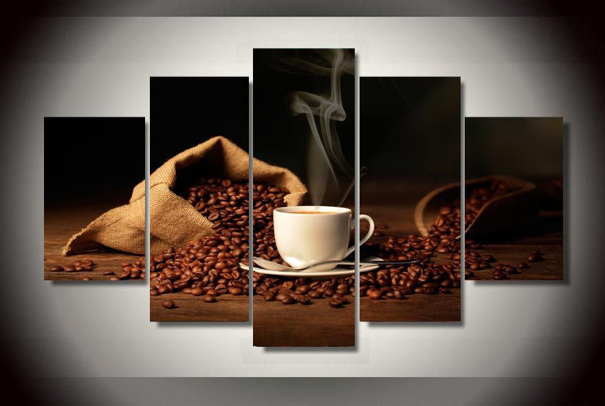 Bag of coffee beans 5 Pcs Wall Canvas -  - TheLedHeroes