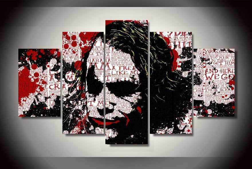 Batman the Joker 5 Pcs Wall Canvas -  - TheLedHeroes