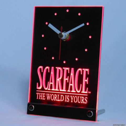 Scarface The World is Yours Bar Beer Table Desk 3D LED Clock -  - TheLedHeroes