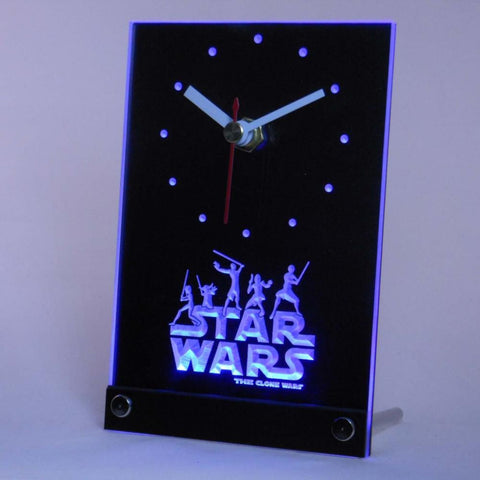 Star Wars The Clone Wars Jedi Table Desk 3D LED Clock -  - TheLedHeroes