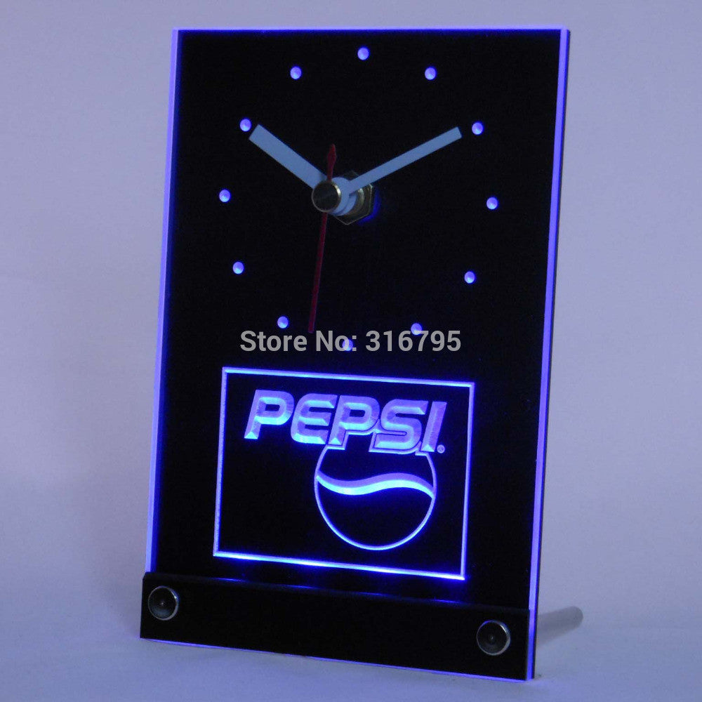 Pepsi Coke Drink 3D LED Table Desk Clock -  - TheLedHeroes