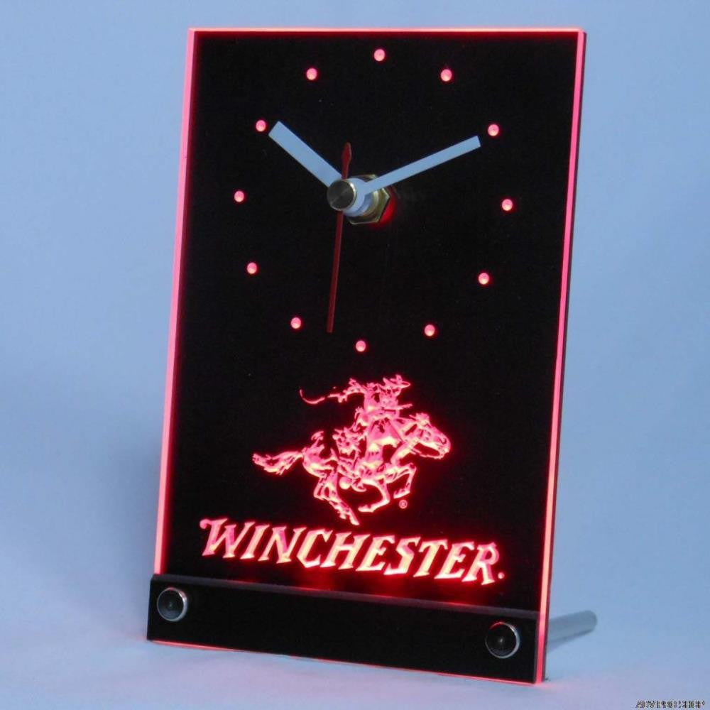 Winchester Firearms Gun Logo Table Desk 3D LED Clock -  - TheLedHeroes