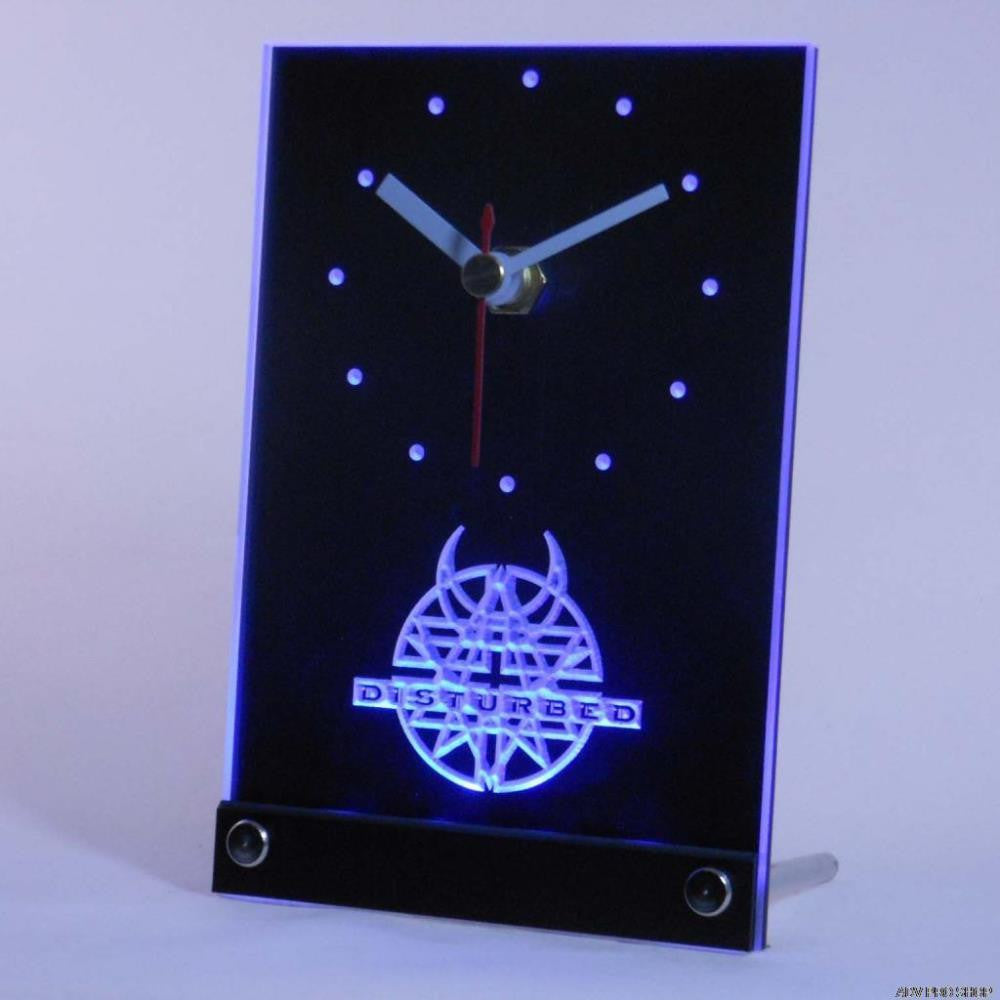 Disturbed Rock n Roll Bar Pub Table Desk 3D LED Clock -  - TheLedHeroes
