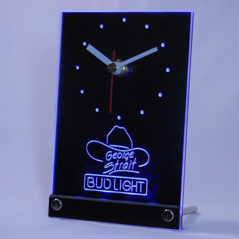 Bud Light George Strait Table Desk 3D LED Clock -  - TheLedHeroes