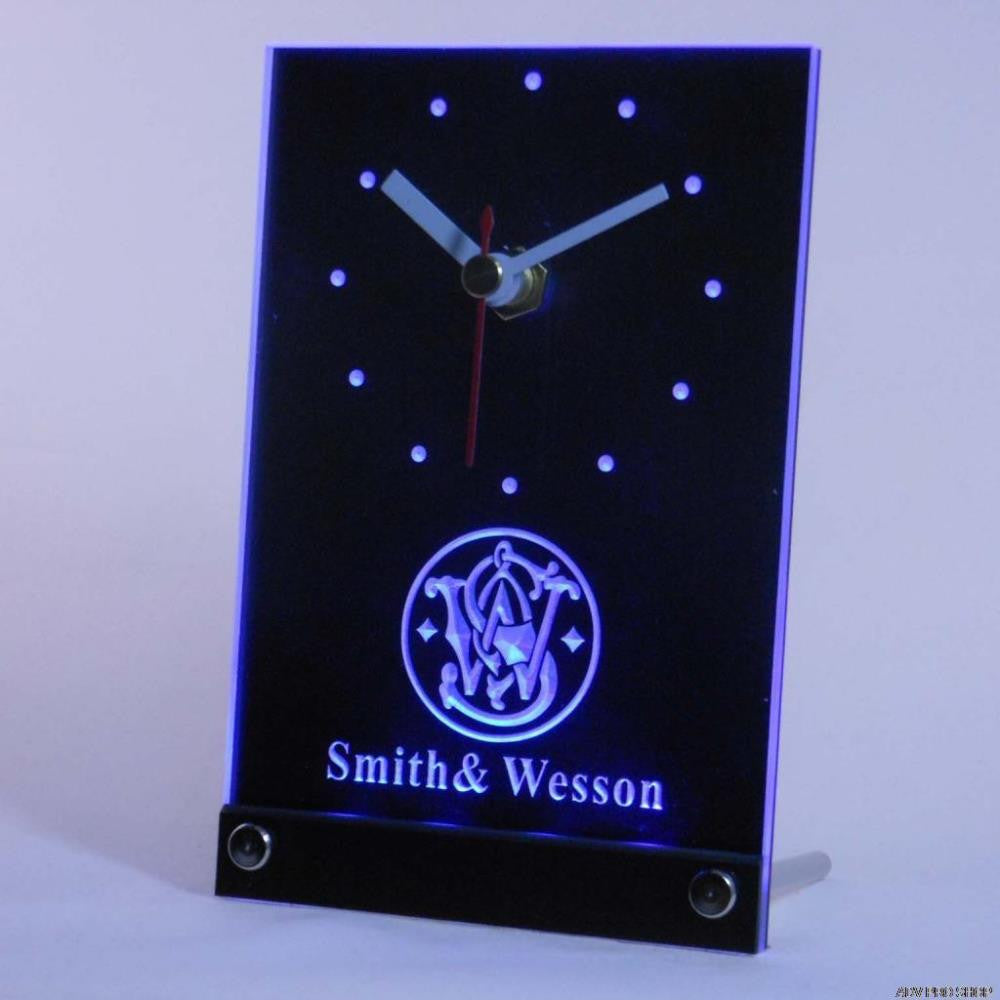Smith Wesson Gun Firearms Logo Table Desk 3D LED Clock -  - TheLedHeroes