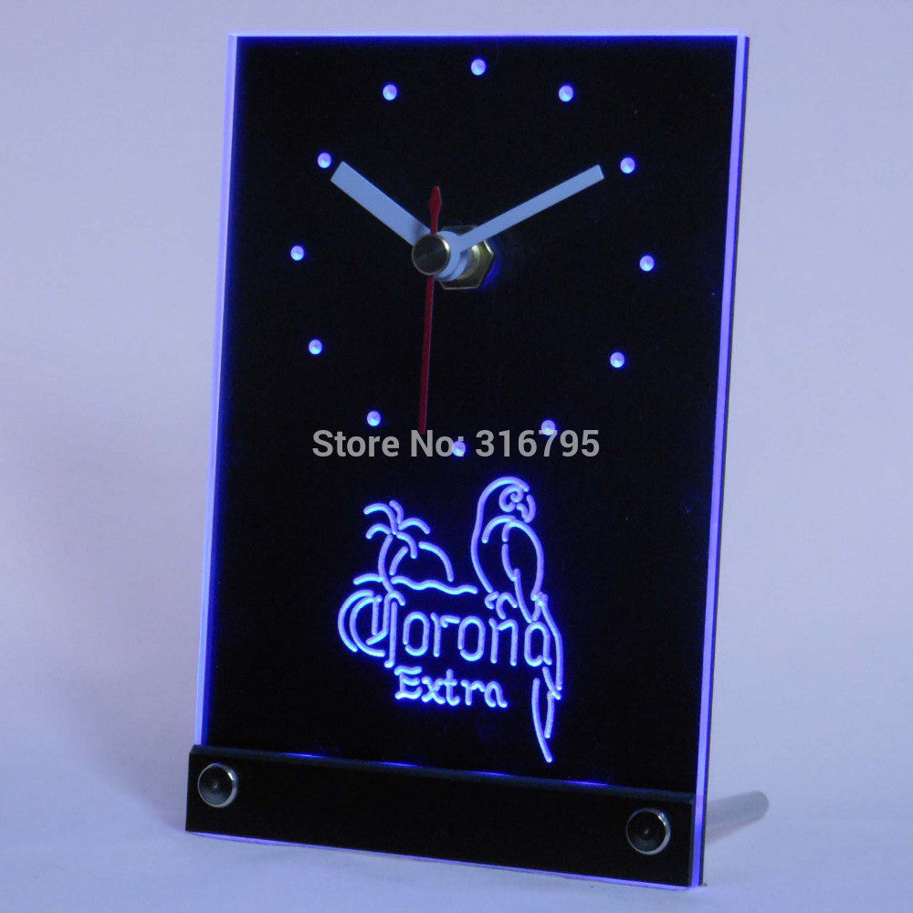 CORONA Extra Parrot Beer 3D LED Table Desk Clock -  - TheLedHeroes