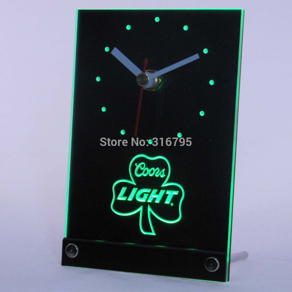 Coors Light Shamrock 3D LED Table Desk Clock -  - TheLedHeroes