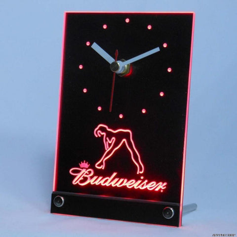 Budweiser Exotic Dancer Stripper Table Desk 3D LED Clock -  - TheLedHeroes
