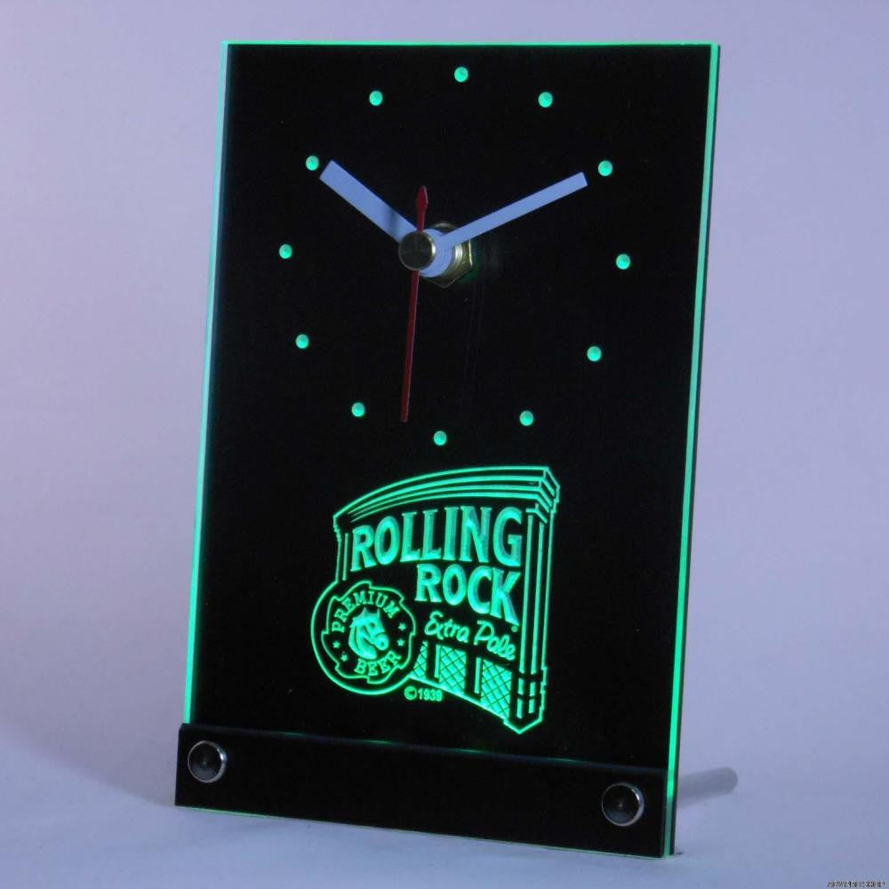 Rolling Rock Beer Bar 3D LED Table Desk Clock -  - TheLedHeroes