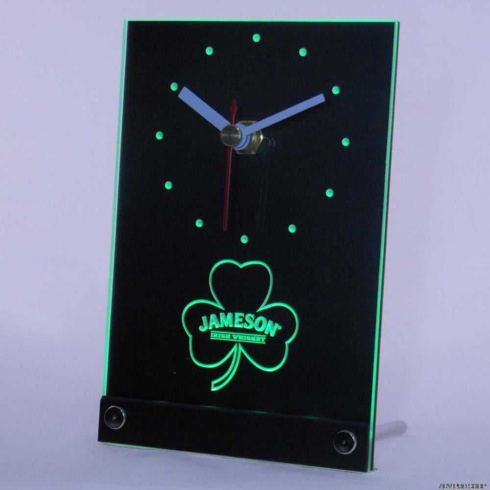 Jameson Shamrock Beer Bar Whisky Table Desk 3D LED Clock -  - TheLedHeroes