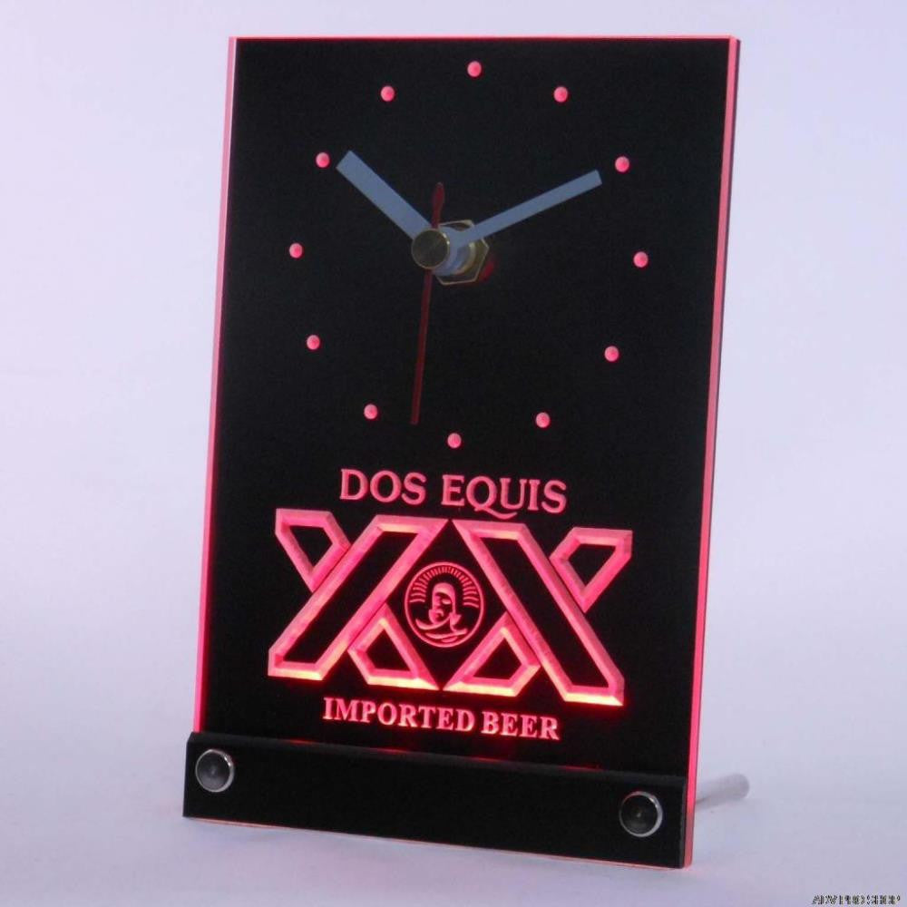 Dos Equis Beer Bar Pub Table Desk 3D LED Clock -  - TheLedHeroes