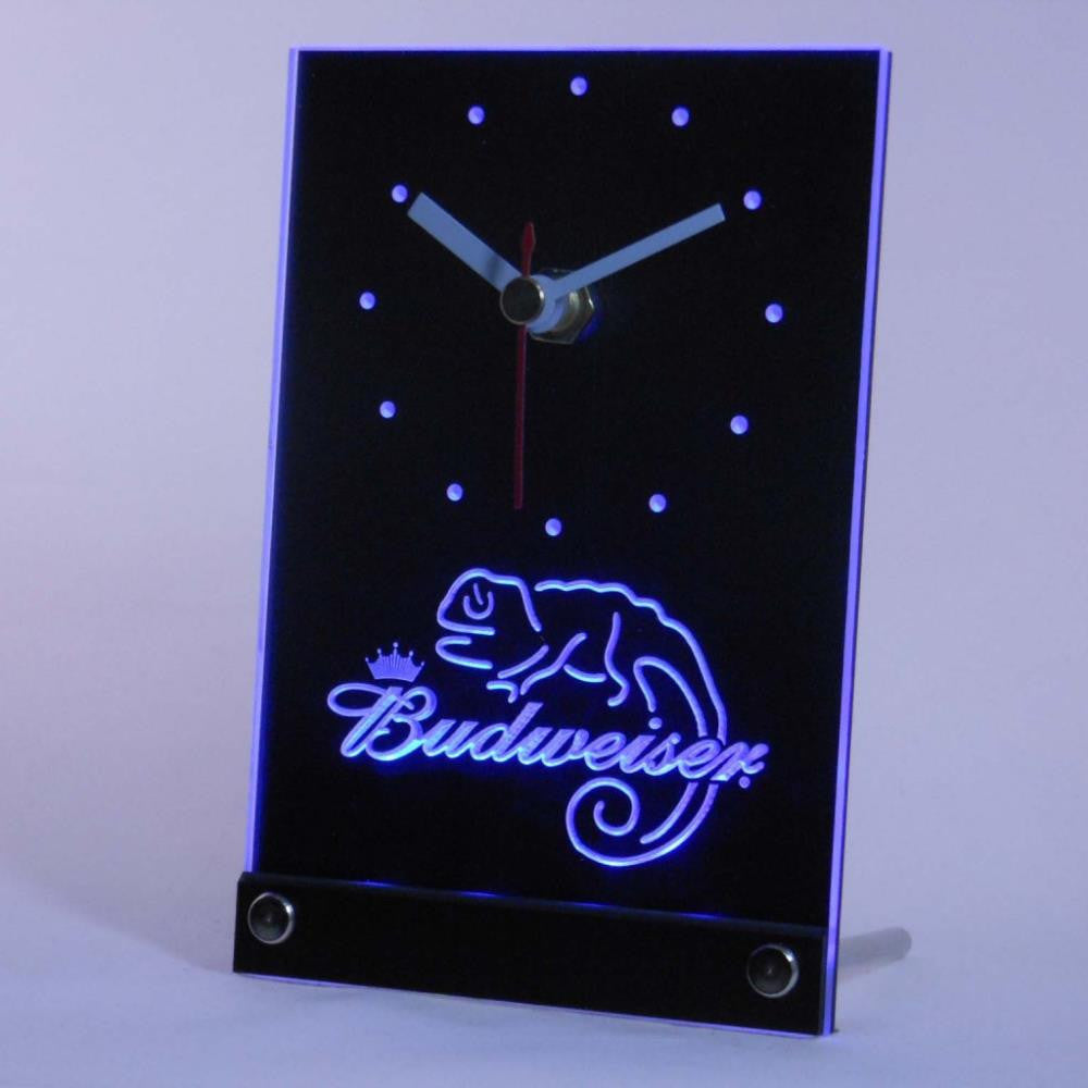 Budweiser lizard Beer Bar Table Desk 3D LED Clock -  - TheLedHeroes