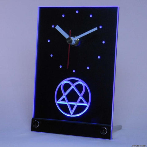 Him Heartagram Logo Band Table Desk 3D LED Clock -  - TheLedHeroes