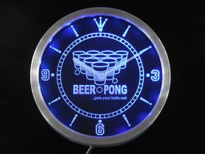 Beer Pong Game Sport Bar Room LED Wall Clock -  - TheLedHeroes