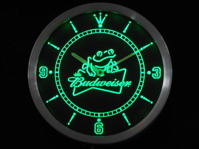 Budweiser Frog Beer LED Wall Clock -  - TheLedHeroes