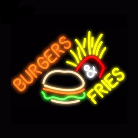 Burger Fries Neon Bulbs Sign 19x15 -  - TheLedHeroes
