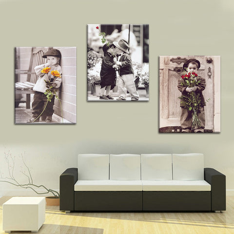 Boys with Flower 3 Pcs Wall Canvas