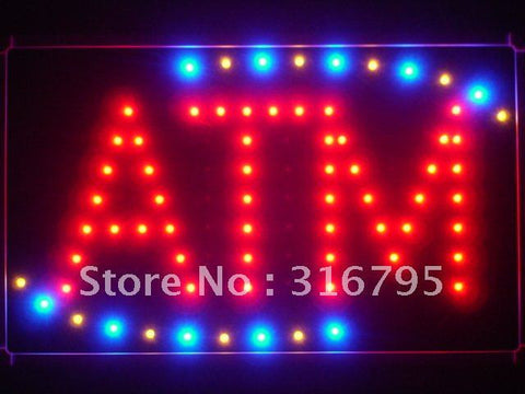 ATM Red LED Sign with Back Board