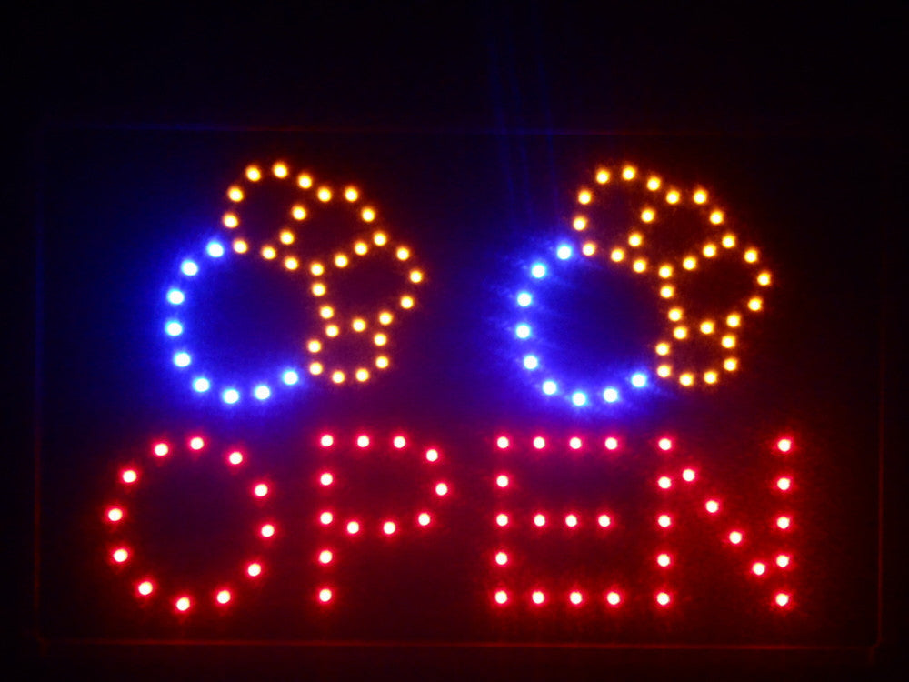 "Dog Paw Print OPEN Pet Shop LED Sign 16"" x 10"" -  - TheLedHeroes"