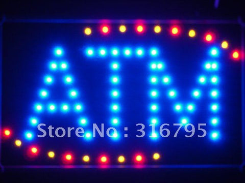 ATM Blue LED Sign with Whiteboard