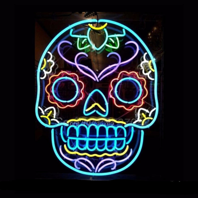 Tattoo Skull Neon Bulbs Sign 24x20 -  - TheLedHeroes