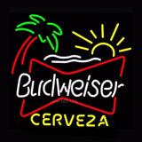 Budweiser Palm Tree Cerveza Neon Bulbs Sign 24x24