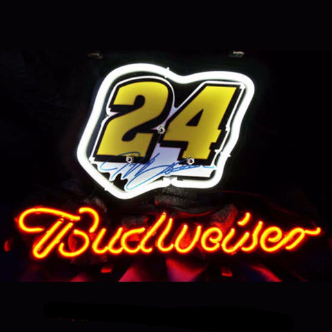 Budweiser Car Racing # 24 Neon Bulbs Sign 17X14 -  - TheLedHeroes