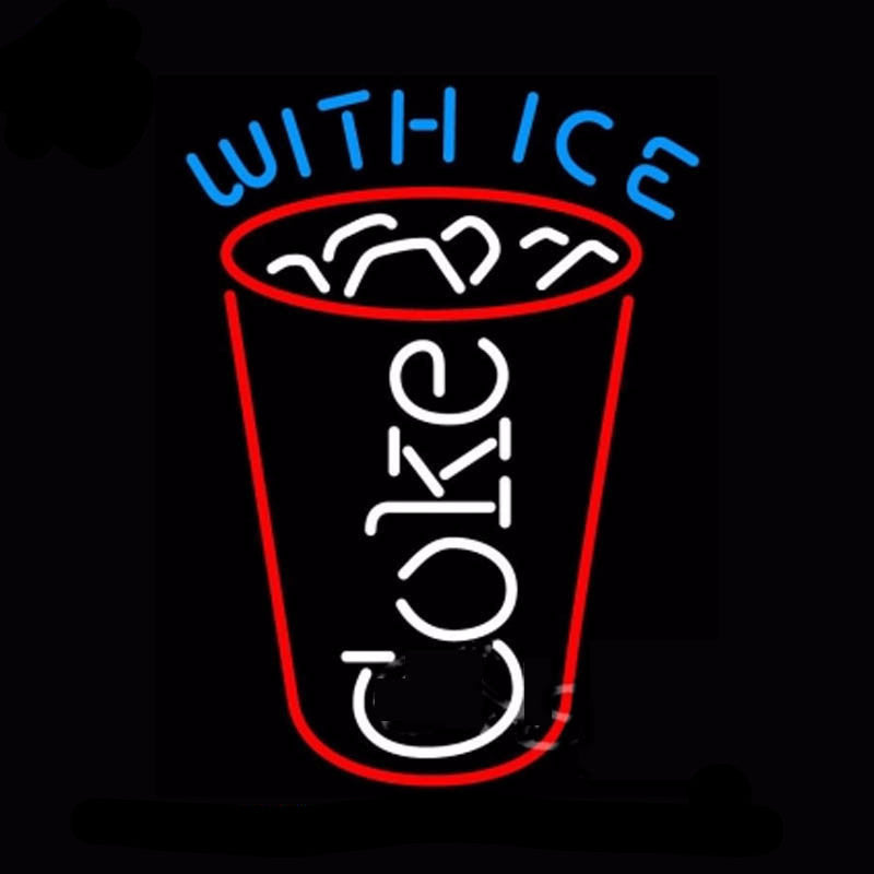 Coke With Ice Cup Glass Neon Bulbs Sign 17x14 -  - TheLedHeroes
