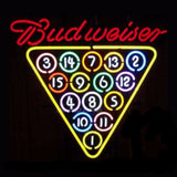 Budweiser Billards Neon Bulbs Sign 25x21