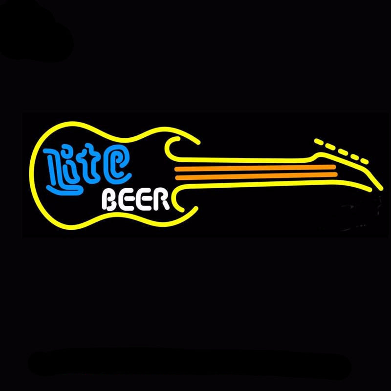 Miller Lite Guitar Neon Bulbs Sign 32x13 -  - TheLedHeroes