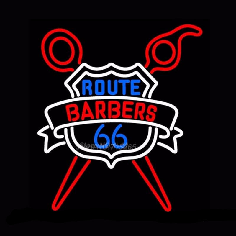 Route Barbers 66 Neon Bulbs Sign 20x24 -  - TheLedHeroes