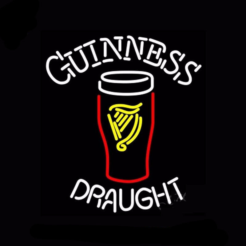 Guinness Draught 2 Neon Bulbs Sign 24x27 -  - TheLedHeroes