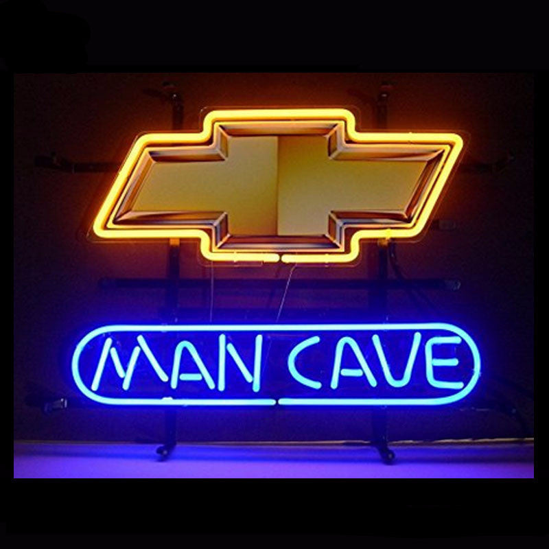 Chevrolet Man Cave Neon Bulbs Sign 17x14 -  - TheLedHeroes