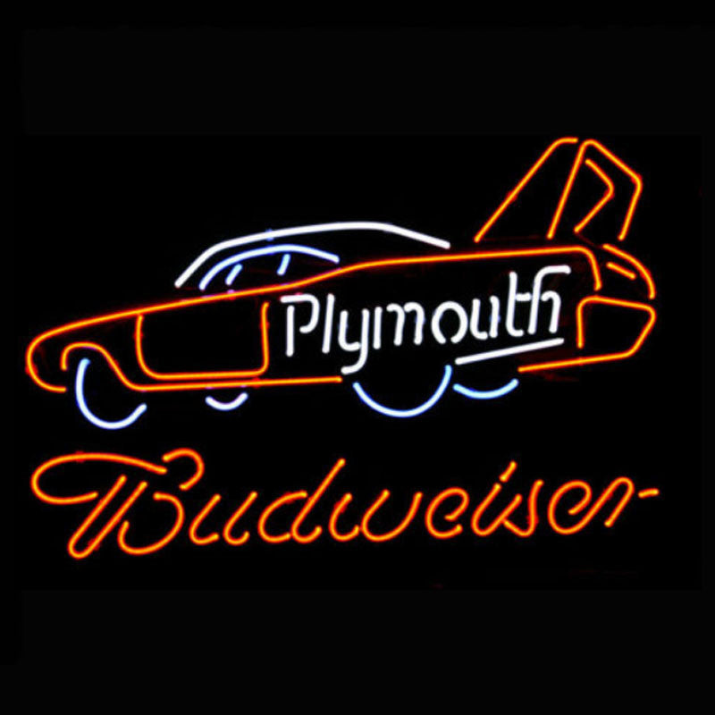 Phymouth Racing Car Budweiser Neon Bulbs Sign 24x18 -  - TheLedHeroes