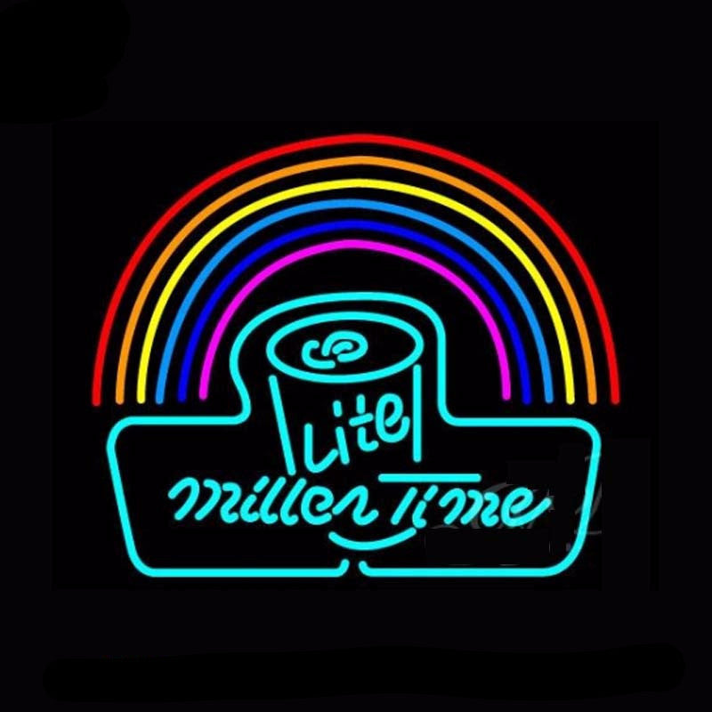 Miller Lite Time Can Rainbow Neon Bulbs Sign 31x24 -  - TheLedHeroes