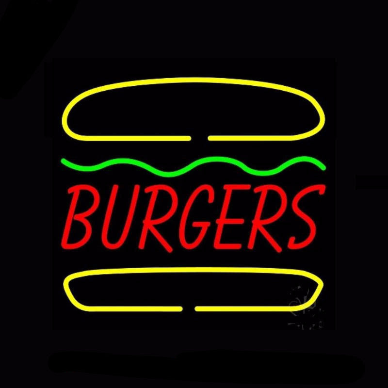 Burgers Neon Bulbs Sign 24x24 -  - TheLedHeroes