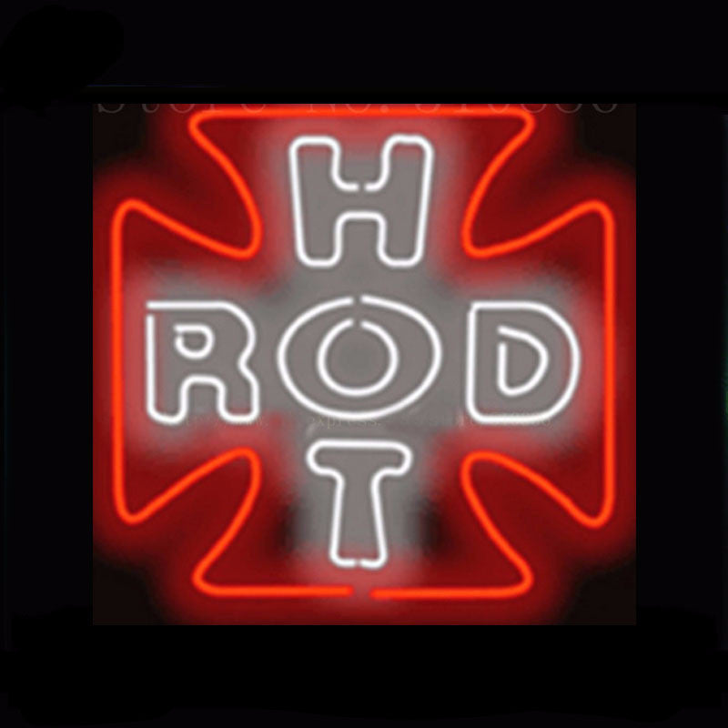 Hot Rod Cross Car Auto Neon Bulbs Sign 18X18 -  - TheLedHeroes