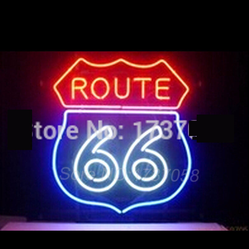 "Route 66 Garage Neon Bulbs Sign 19x15"" -  - TheLedHeroes"