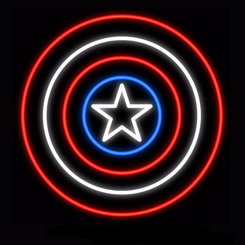 Captain America Neon Bulbs Sign 24x24 -  - TheLedHeroes