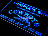 Name Personalized Custom Cowboys Leave Your Guns At The Bar Beer LED Sign - FREE SHIPPING