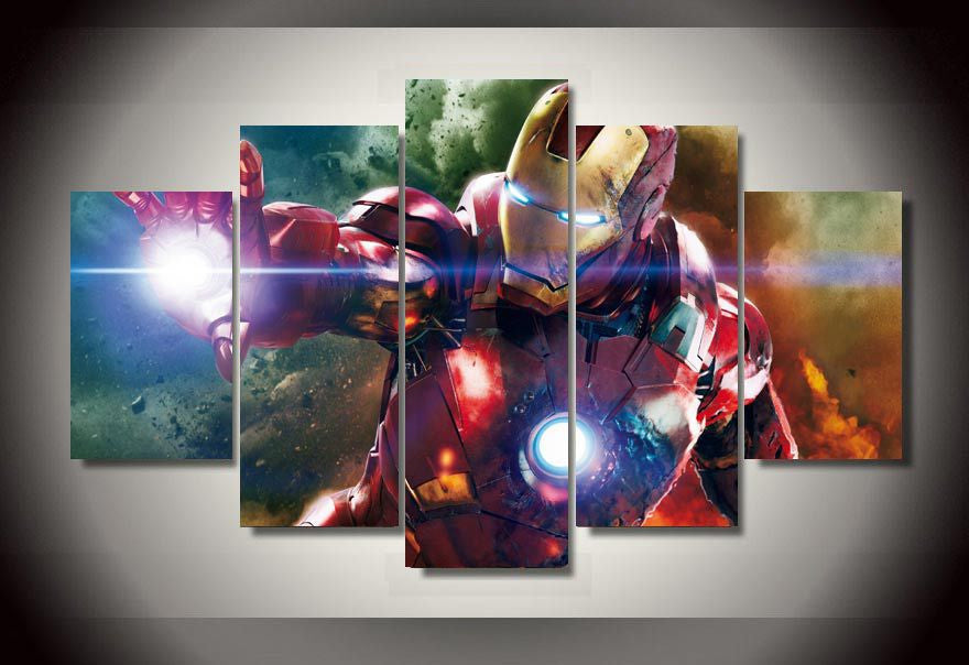 Iron man 5 Pcs Wall Canvas -  - TheLedHeroes